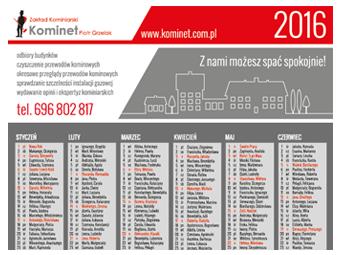 Kalendarz 2016 dla ZK Kominet